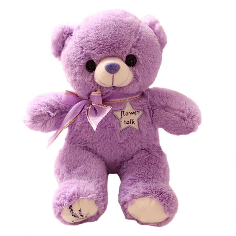 1pcs 35cm lovely Lavender Bear Purple Teddy Bear Plush Bear Toys Stuffed Doll High Quality Birthday Gifts For Kids