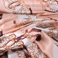 140CM Wide 19MM Chains Print 90% Silk 10% Lycra Stretch Pink Silk Satin Fabric for Dress Cheongsam Pant Shirt H339