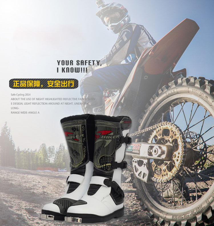PRO-BIKER Boots Motorcycle Motocross PU Leather Racing Long Boots Shoes Motorcross Off- Road Riding Motorbike Shoes For Men/Wome ...