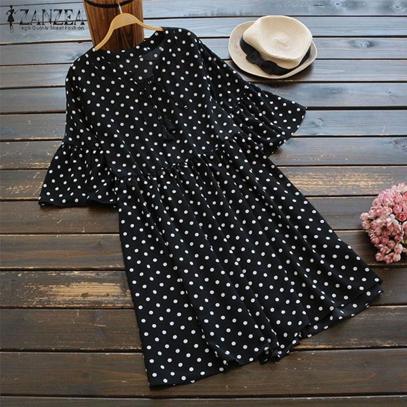 ZANZEA 2019 Spring Women Vintage O Neck Short Sleeve Ruffles Polka Dot Dress Party Mini Vestido Casual Loose Sundress Plus Size