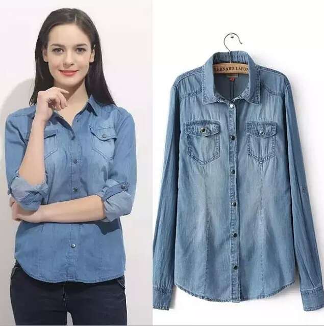 Popular Women Denim Shirt-Buy Cheap Women Denim Shirt lots from ...