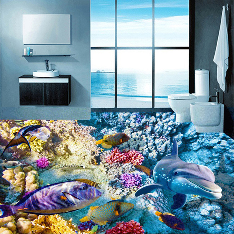 Custom 3D Mural Dolphins Tropical Coral Bathroom Bedroom Backdrop 3D Floor Stickers PVC Self-adhesive Floor Wallpaper For Wall custom baby wallpaper snow white and the seven dwarfs bedroom for the children s room mural backdrop stereoscopic 3d