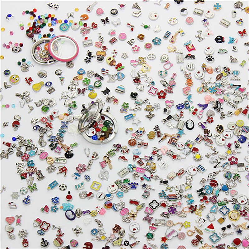 Hot Sale 100pcs/lot Over 1000 Style Mixed Random Different Designs Alloy Floating Charms For Glass Lockets Pendants Jewelry