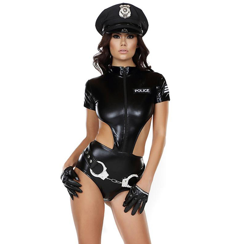 Sexy Faux Leather Women Police Costumes Female Cop Handcuffs Role Play Cops Catsuits Holloween Cosplay Costume Uniform Dresses