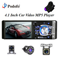 Podofo 12V Bluetooth Car Stereo FM Radio MP5 Audio Player Bluetooth Remote Control In Dash 1 DIN Autoradio Support Rear Camera