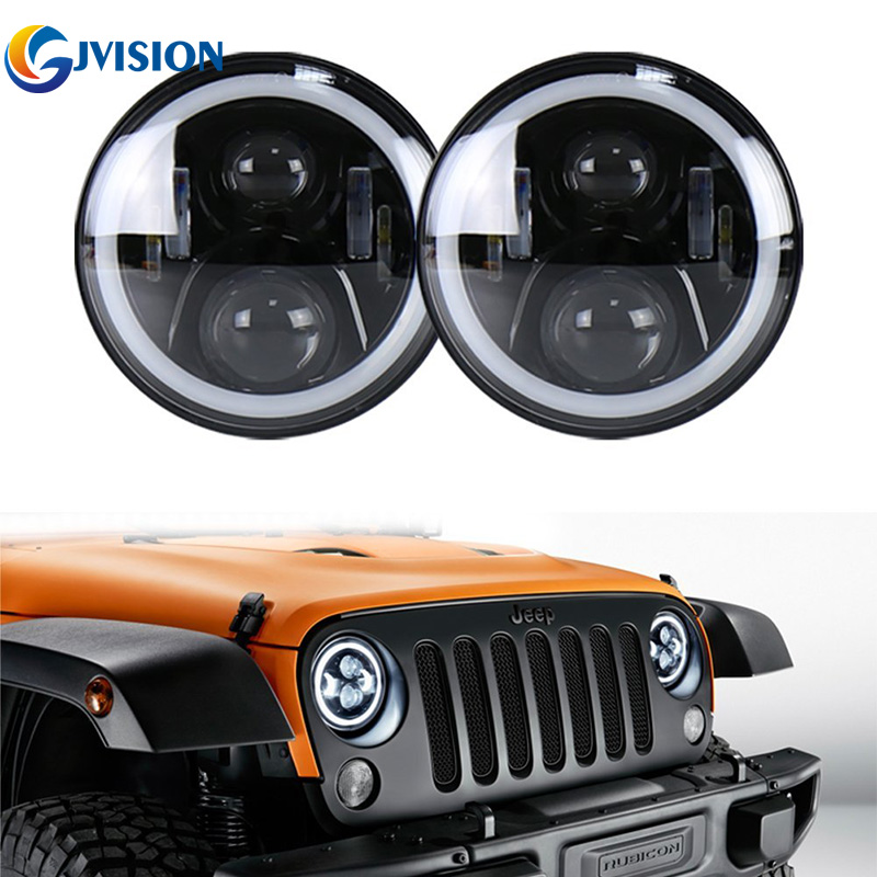 2PCS Black 50W 7inch led headlight with White DRL Yellow (Amber) Turn signal lights for Jeep Wrangler LandRover Defender lamps ijdm amber yellow error free bau15s 7507 py21w 1156py xbd led bulbs for front turn signal lights bau15s led 12v