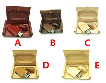 Full capacity Wooden USB Flash Drive Memory Stick + Packing Box pendrive 8GB 16GB 32GB pen drive LOGO customized wedding gift