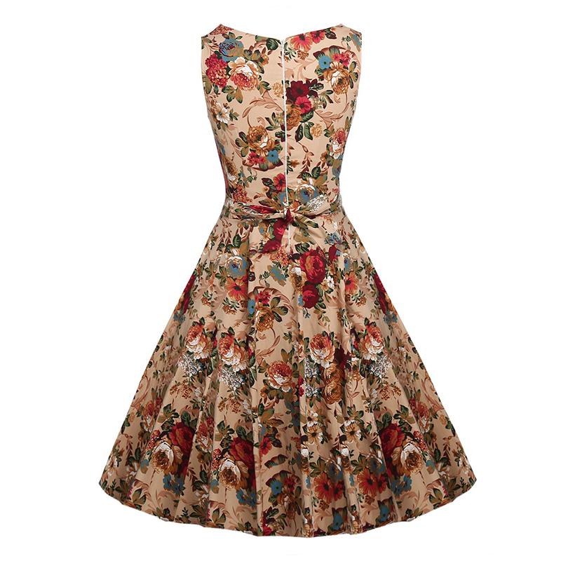 Kostlish Cotton Summer Dress Women 2017 Sleeveless Tunic 50s Vintage Dress Belt Elegant Print Rockabilly Party Dresses Sundress (27)