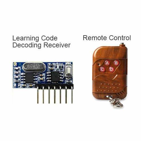 Rf 433 МГц передатчик 4 кнопки пульта дистанционного управления и приемник модуль схемы комплект фиксированный ev1527 декодирования 4CH выход с обучения diy