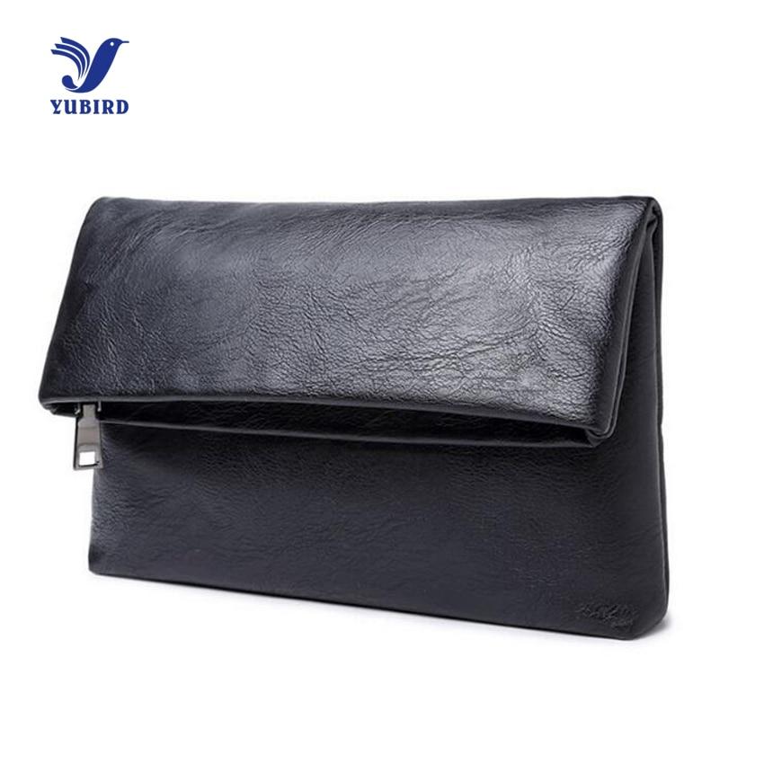 YUBIRD Brand Unisex Clutches Bag Business Solid Black PU Leather Envelope Clutch Purse and Handbag Men Female Party Mini Bag