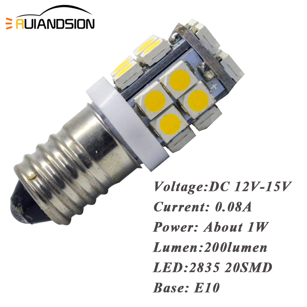 4X E10 12V 2835 20SMD 6000K 4000K 2700K MES Screw LED Light Bulb Head Lamp Interior Lantern 1W 200lm White Warm white Amber in Car Headlight Bulbs LED from Automobiles Motorcycles