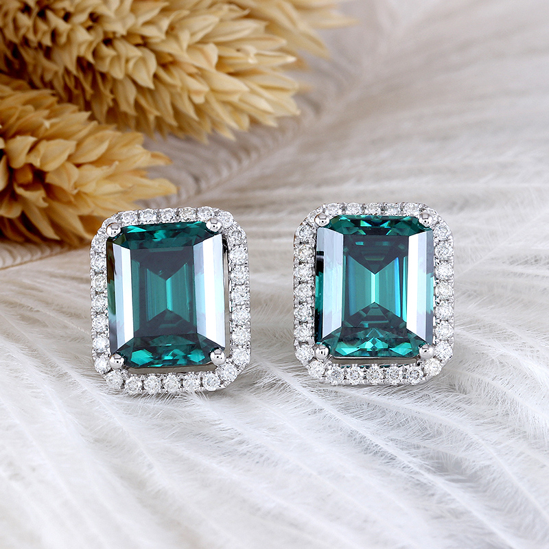 Transgems 14K White Gold Center 8X10mm Emerald Moissanite Stud Earrings with Accents Push Back for Women starry pattern gold plated alloy rhinestone stud earrings for women pink pair