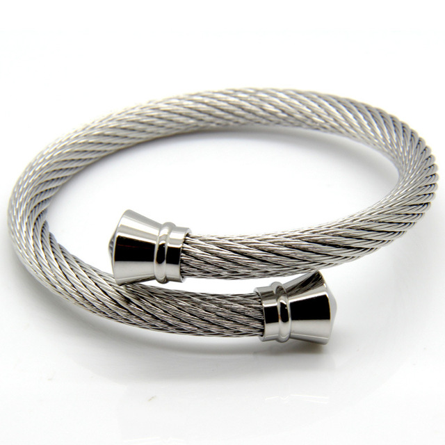 twisted dp bracelet tone cable stainless two women gold bangle bangles com amazon adjustable men silver steel cuff