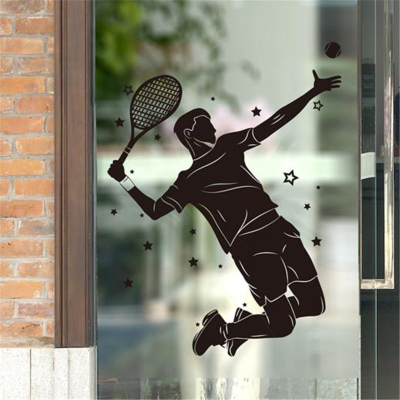 Customized Male Tennis Player Wall Sticker Vinyl DIY Mural Art for Living Room Kids Room Gymnasium Decoration