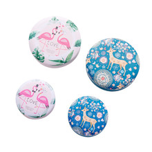 Cute Cartoon Animal Flamingo Deer Gift Box  Metal Beauty Flower Makeup Cosmetic Organizer Womens Jewelry Storage