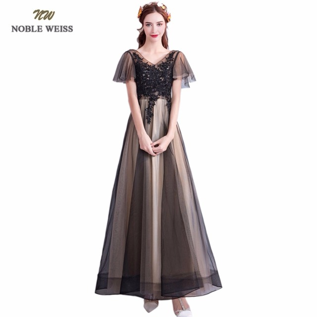 Благородный Вайс аппликации v-образным вырезом длинное вечернее платье невесты пикантные Кружево со шнуровкой сзади Бисер вечерние торжественное платье с Рубашка с короткими рукавами