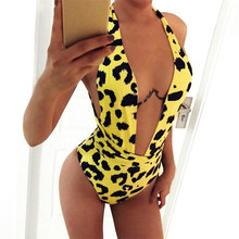 Vintage Print Deep V Neck Wrap Bandage Monokini Female Backless High Cut Thong Swimsuit Women Sexy Halter One Piece Swimwear black cut out design deep v neck halter swimsuit