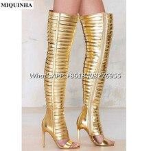 MIQUINHA Over The Knee Boots Women Sandals Hollow Out Golden Black Sexy High Heel Women Summer High Boots Open Toe Women Shoes