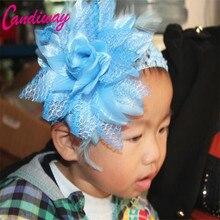 2017 Moda Fita Da Flor Do Bebê Headband Crianças Hairband Arcos de Cabelo Meninas Crianças Acessórios Para o Cabelo Headwear Azul Flor Da Coroa 1 pcs