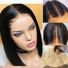 Fake Scalp Invisible 13x6 Lace Front Human Hair Wig Short Blunt Cut Straight Indian Remy Preplucked And Bleached Knots Closure