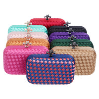 New Women Evening Bags Candy Color Small Day Clutches Knitted Party Clutch Bag Wedding Purse Brand