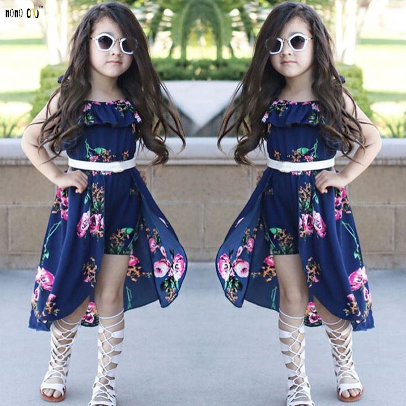 Fashion Elegant Girls Floral Dresses Sling Ruffles Irregular Princess Beach Summer Dress Child Girl Clothing 3 4 5 6 7 8 Years(China)
