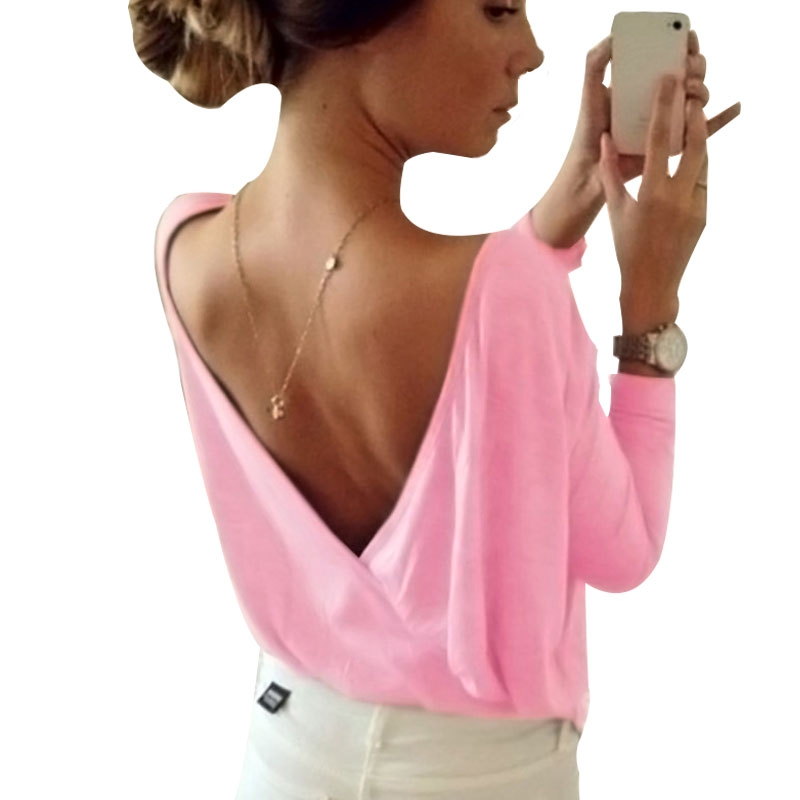 MOBTRS New Arrival Backless Top Women Individuality T Shirt Sexy Womens Candy Colors Summer Ladies Tops