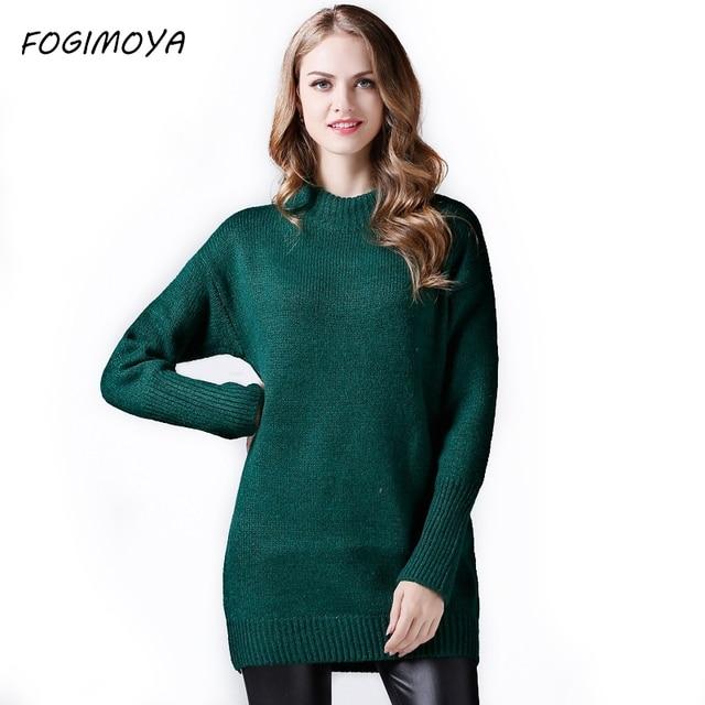 FOGIMOYA длинный свитер платье Осень Зима повседневные пуловеры компьютер вязаный толстый свитер Однотонный женский длинный рукав 2017 Топы