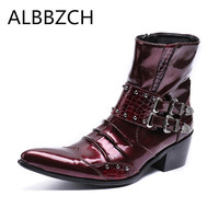 New mens pointed toe zip fashion buckle patent leather ankle boots men high top high heel career work boots wedding dress shoes