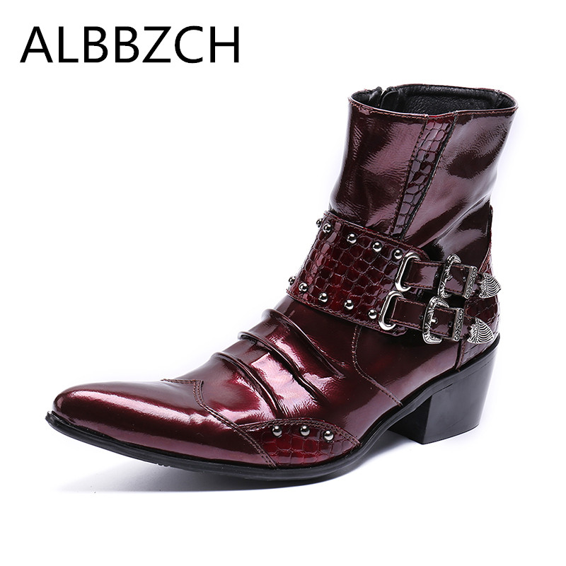 New mens pointed toe zip fashion buckle patent leather ankle boots men high top high heel career work boots wedding dress shoesNew mens pointed toe zip fashion buckle patent leather ankle boots men high top high heel career work boots wedding dress shoes