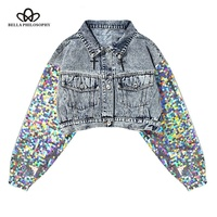 76b14476a Bella Philosophy Sequins Patchwork Jacket For Women Lapel Long Sleeve  Button Big Size Denim Coat Female