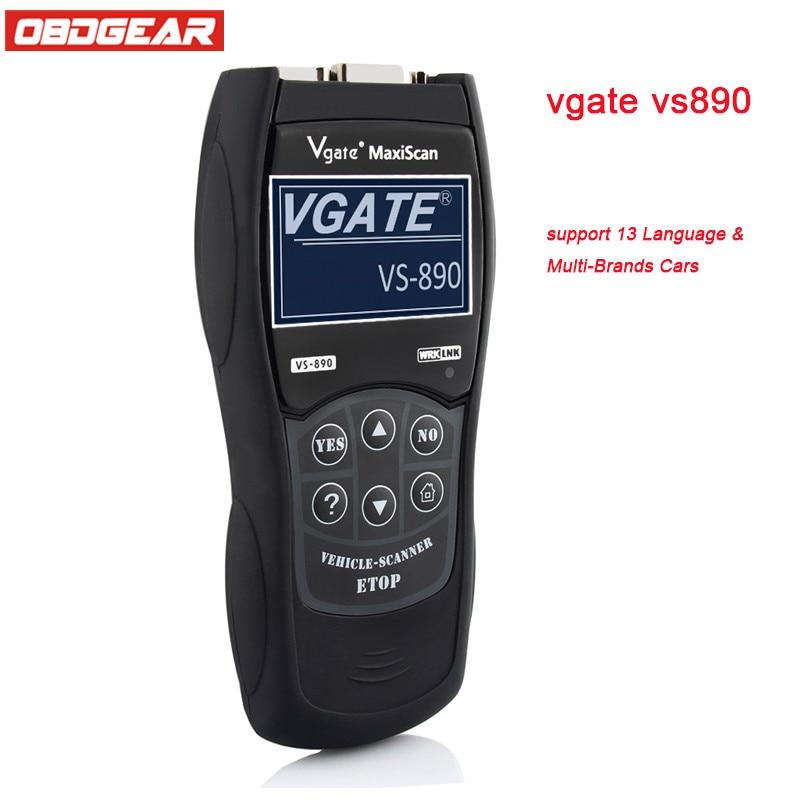 Oringal Vgate VS890 ODB 2 Autoscanner OBD2 OBDII Auto Diagnostic Scanner Support multi-langue Scanner Automotivo em Portugues