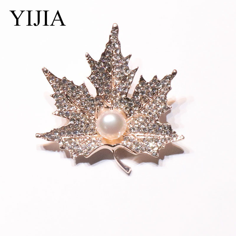 YIJIA Brooches Maple leaves 3x5.5cm Rhinestone Brooches Fashion Jewelry Wedding Gift Women's Brooch Brooch-female Natural Pealr