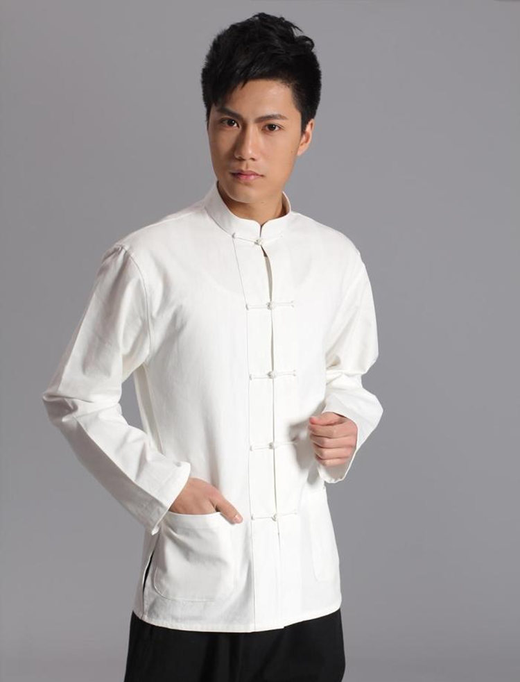 Long Sleeve Cotton Traditional Chinese Clothes Tang Suit Top Kung Fu Tai Chi Uniform Spring Autumn Shirt Blouse Coat For Men