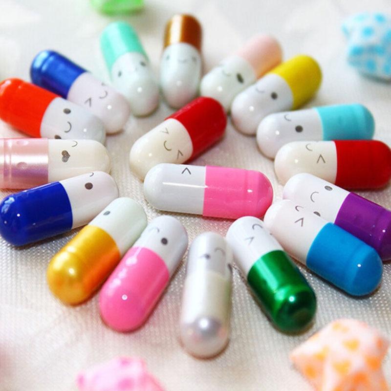 50 Pcs/lot New Arrival  Fashion Love Color Random Capsule Pills Stationery Wishing Bottle Multicolor Capsules