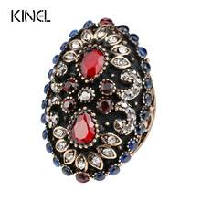 Hot Unique Vintage Ring For Women Plating Gold Punk Turkish Jewelry Colorful Resin Party Gifts Accessories Wholesale