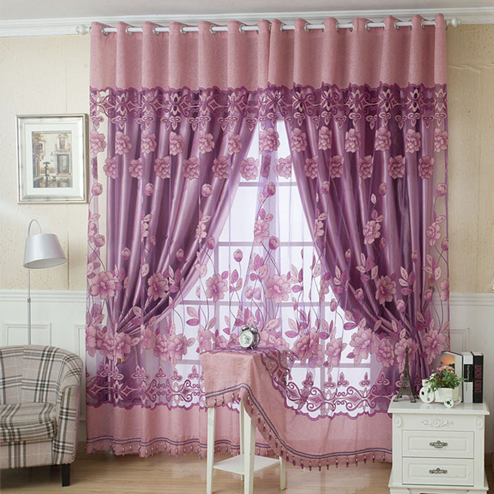 2Pcs 100*250cm Floral Pattern Window Curtains With Beads