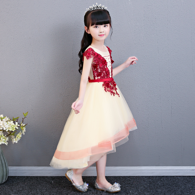 2018 Summer New Baby Girls Elegant Birthday Wedding Party Tail Prom Dress Children Teens Host Evening Party Dress For 3~15 Years