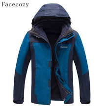 Facecozy Hommes D'hiver En Plein Air Épais De Pêche Softshell Vestes Respirant 2 Pièces Coupe-Vent Camping Manteau