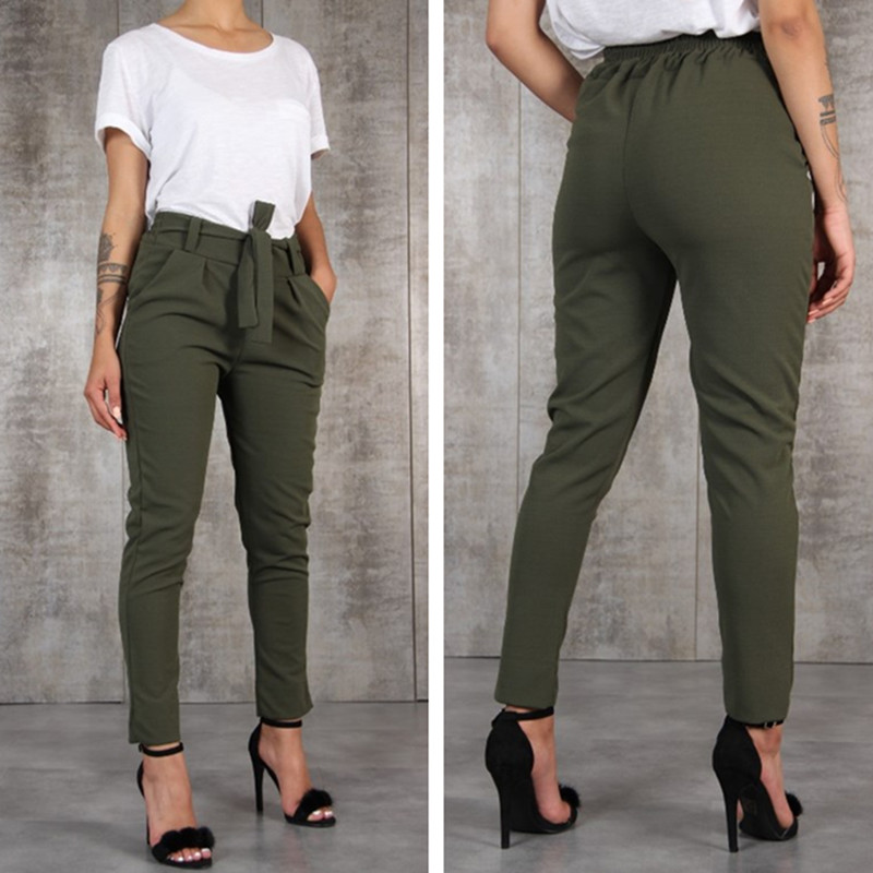 Borntogirl Casual Slim Chiffon Thin Pants For Women High Waist Black Khaki Green Pants #4
