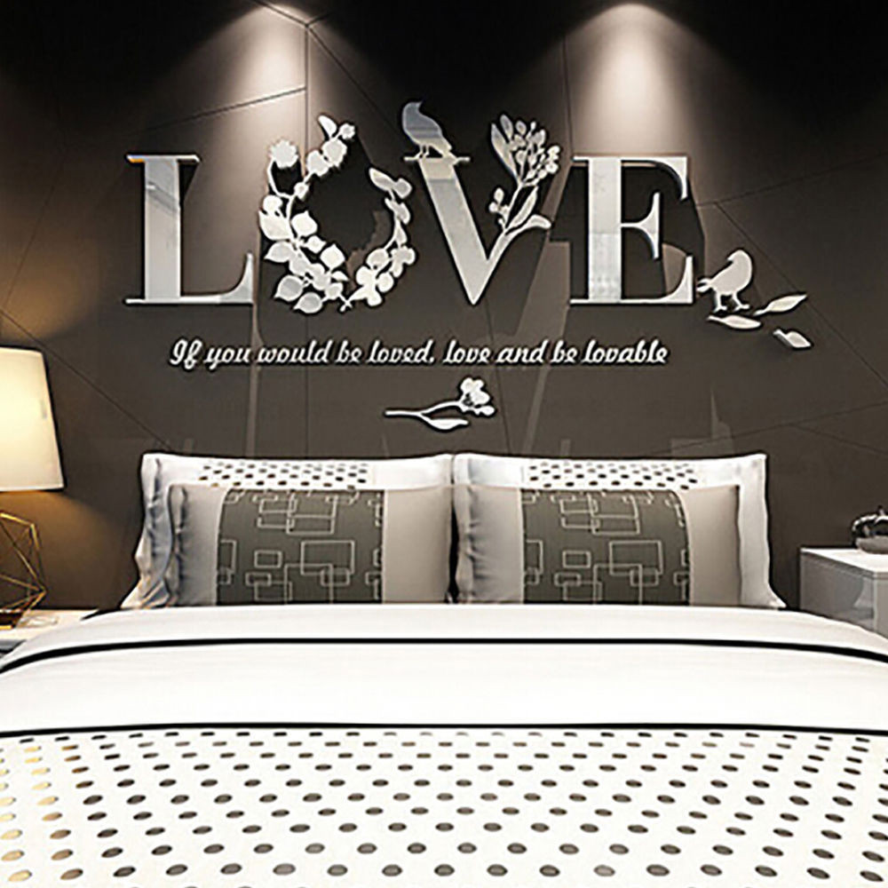 DIY 3D Leaf LOVE Stylish Wall Sticker Art Vinyl Decals Acrylic Mirrored Decor  Bedroom Living Room