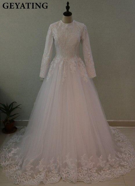 Arabic Turkish Islamic Muslim Wedding Dresses With Hijab Gelinlik 2017 Long Sleeve Lace Ball Gown Princess