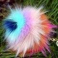 Color de la mezcla de la baratija Llavero llaveros Llavero de piel sintética pompón pompones pumpon chik llaveros Llavero pompón furllaveros mujer