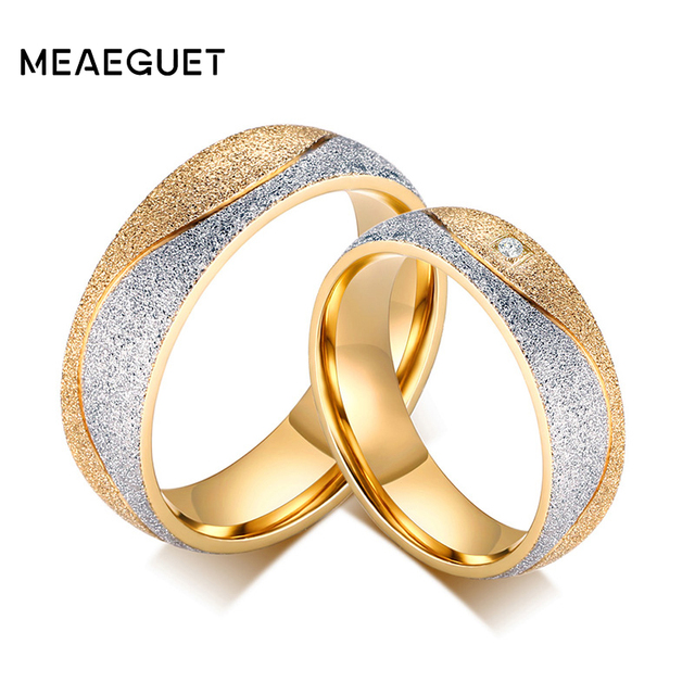 meaeguet stainless steel engagement ring for lovers cz wedding rings jewelry gold color wedding bands - Cz Wedding Rings
