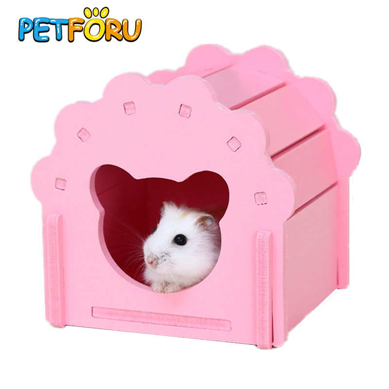 S Hamster Seesaw Timber Wood House Toys Hamster Golden Silk Bear Bungalow Sleeping Nest Toy Winter Warm House Swing Hamster Cage