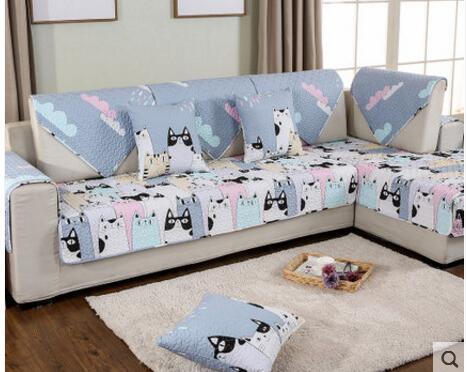 Cartoon cute cotton sofa cushion simple modern living room fabric towel four seasons non-slip cushion