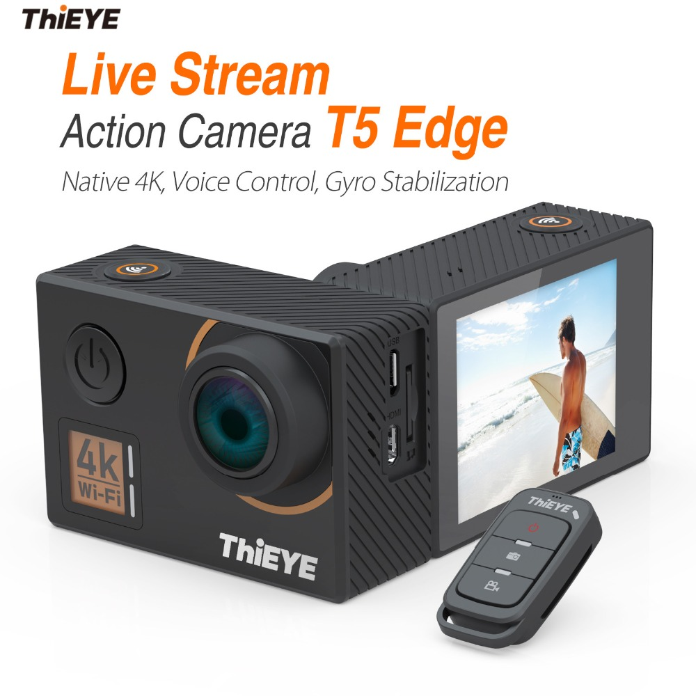 лучшая цена ThiEYE T5 Edge With Live Stream Cam Real 4K Ultra HD Action Camera with Gyro Stabilizer, Voice Control Underwater Sports Camera