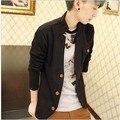 2015 Oferta Especial Real Sueter Camisolas Blusa Masculina Primavera Roupas masculinas E Outono Gola Fina Camisola Masculina Cardigan