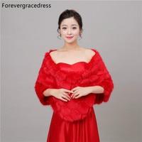 Forevergracedress 2017 New Red Winter Season Faux Fur Wedding Wrap Bolero Jackets Bridal Coat Cape Cloak