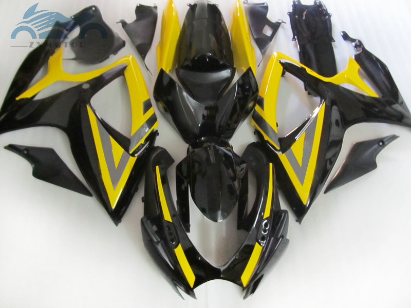 100% fit Injection <font><b>Fairing</b></font> kits for Suzuki <font><b>GSXR</b></font> <font><b>600</b></font> 06 07 K6 750 racing <font><b>fairings</b></font> kit <font><b>GSXR</b></font> 750 <font><b>2006</b></font> 2007 yellow black image